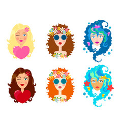 Set of faces of cute girls with smile cartoon and vector