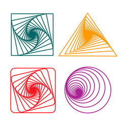 Set of spirals a square circle and triangle vector