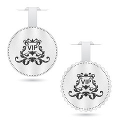 Set of two elegant white vip dices with ornament vector