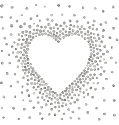 Silver frame in the shape of heart vector