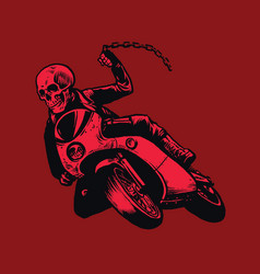 Skull of bandit riding motorcycle vector