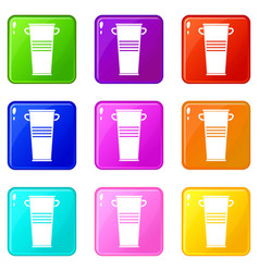 Trash can with handles icons 9 set vector