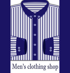 white mens shirt in a blue strip vector image