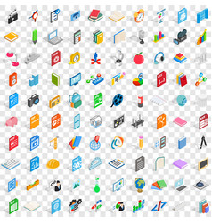 100 graphic design icons set isometric 3d style vector image