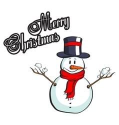 Christmas Greeting Card Snowman vector image