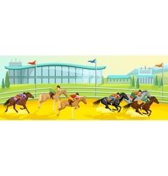 Equestrian sport cartoon template vector