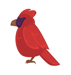 big exotic red bird with violet face and brown vector image