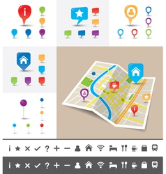 Folded City map with GPS Pin Icons and markers vector image