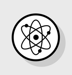 Atom sign   flat black icon in vector