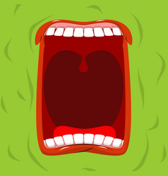 Green monster with his mouth open scary ghost vector