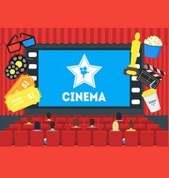 Cartoon cinema concept interior vector