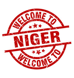 Welcome to niger red stamp vector
