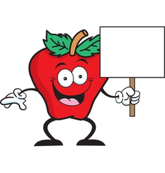 Cartoon apple sign vector