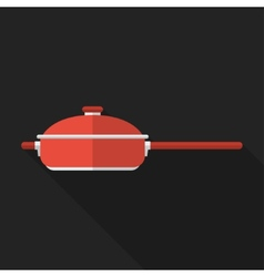 Flat pan with long shadow icon vector