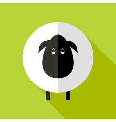 Sheep flat icon over green vector