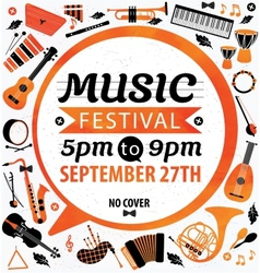 Music festival music flyer vector