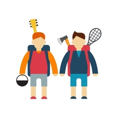 Two tourists modern style flat vector