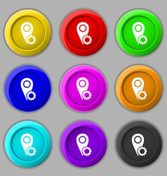 Map pointer setting icon sign symbol on nine round vector