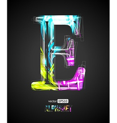 Design light effect alphabet letter e vector