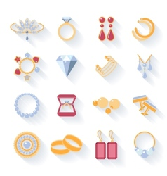 Earrings rings cufflinks and necklaces flat vector