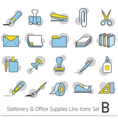 Office supplies and stationery linear icons set vector