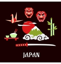 Japan travel flat concept with cultural symbols vector