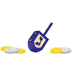 Chanukah dreidel with gelt chocolate coins vector