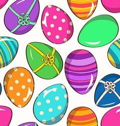 Seamless pattern of funny easter eggs vector