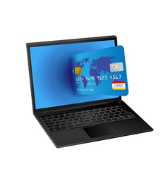 Laptop computer and credit card vector