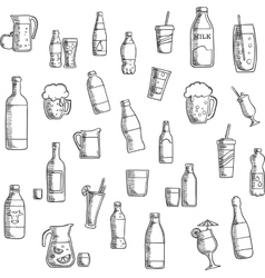 Beverages cocktails and drinks sketched icons vector