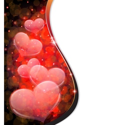Transparent hearts valentines day postcard vector