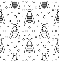 Seamless pattern with insects symmetrical b and w vector