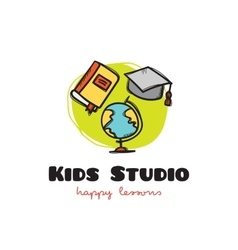 Funny cartoon style educational logo with vector