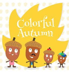 Acorn family colorful autumn vector