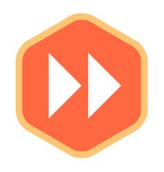 Arrow sign fast forward flat hexagon icon vector