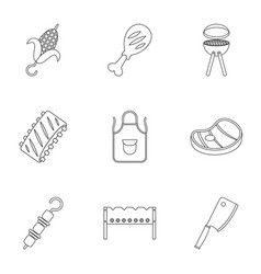 barbecue icons set outline style vector image vector image