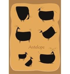 Black cartoon antelopes vector