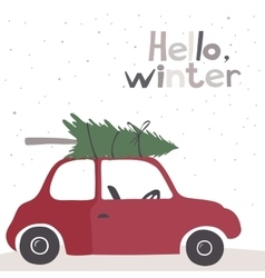 Card with a little red vintage car vector