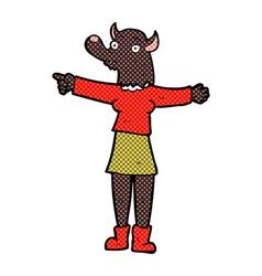 Comic cartoon pointing werewolf woman vector