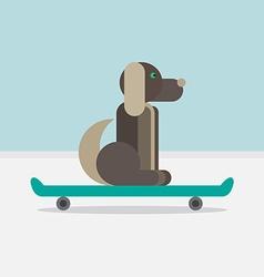 Dog sitting on a skateboard vector image vector image