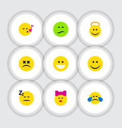 Flat icon face set of angel cross-eyed face joy vector