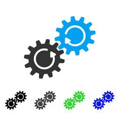 Gear mechanism rotation flat icon vector