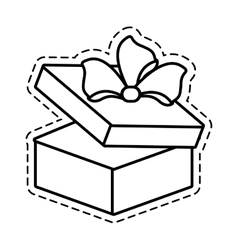 Gift round box bow open cut line vector