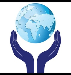 Hands holding a blue earth hope Save planet vector image vector image