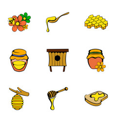 honey icons set cartoon style vector image