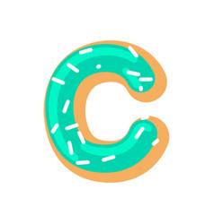 Letter c donut font doughnut alphabet sweet vector