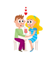 Loving couple boy and girl sharing cocktail vector