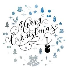 Merry Christmas glittering lettering design vector image vector image