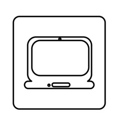 monochrome contour square with laptop computer vector image vector image