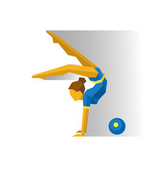 Rhythmic gymnastics with ball girl on white vector